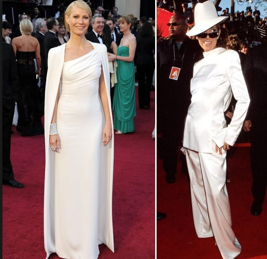 Backwards White Tux And Gwens Dress At The Oscars